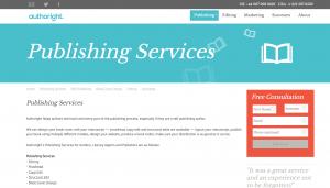 オーサーライトの「出版」サービスのページ。