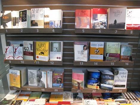 キョボ文庫の週間ベストセラー。1位が村上春樹の『1Q84』で、6週間連続1位を占めているそうだ。20位に『名探偵コナン 65巻』が入っているのが目を引く。ベストセラー入りしているのは主に小説、随筆、エッセイそして経済関連の実用書だが、最近韓国は静かな心理学ブームらしくて、12位に『30歳が心理学に問う』という本がランクイン。