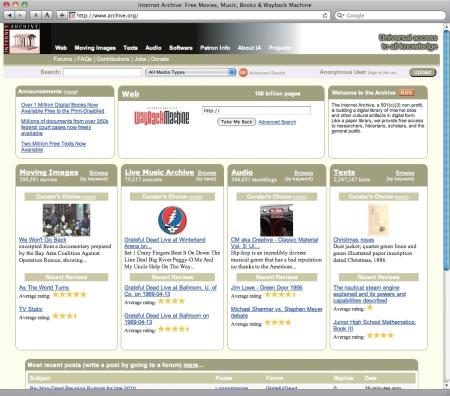Internet Archive トップページ