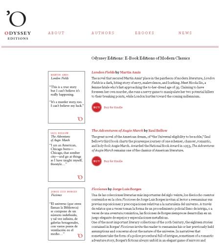 オデッセイ社のウェブサイトはとてもシンプルで、求める作品の電子書籍がすぐに購入できる。