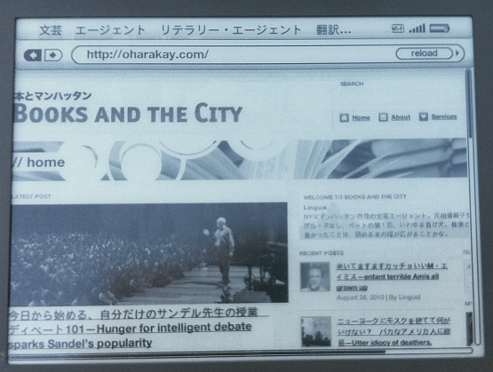 ウェブブラウザでは日本語表示もくっきり。