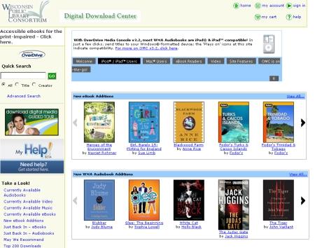 ウィスコンシン州公共図書館コンソシアムの電子図書館画面