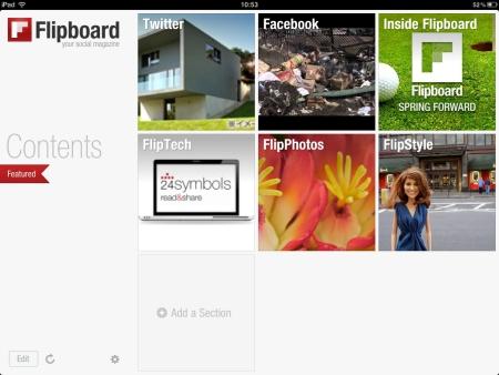 FlipboardはTwiterやFacebookを雑誌風のインタフェースで閲覧できるiPadアプリ。