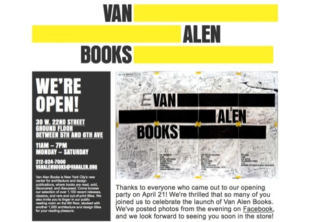 ヴァン・アレン・ブックスのウェブサイト。イメージカラーはイエロー。