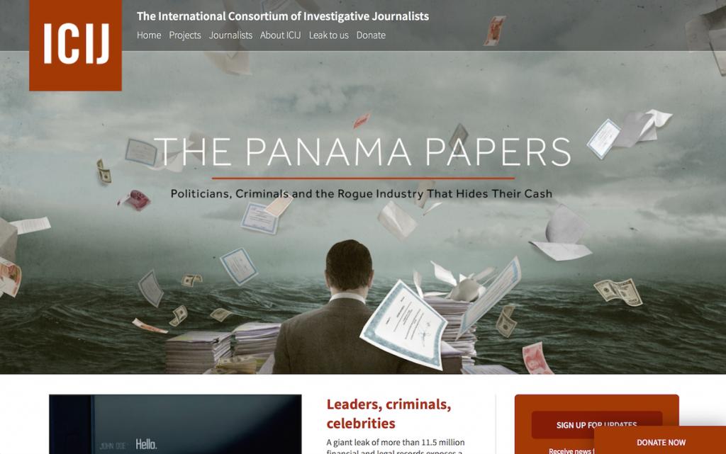 パナマ文書が持ち込まれた先の一つであるジャーナリスト組織ICIJの特設サイト。