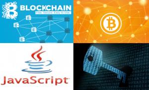 左上から右に「Blockchain」「BitCoin」「JavaScript」のロゴと「公開鍵暗号」のイメージ。